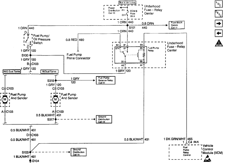 1996 Chevy Tahoe GM Fuel Pump Wiring Diagram