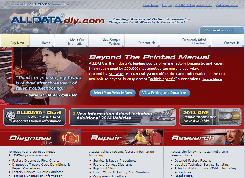 image of alldatadiy.com online repair manual