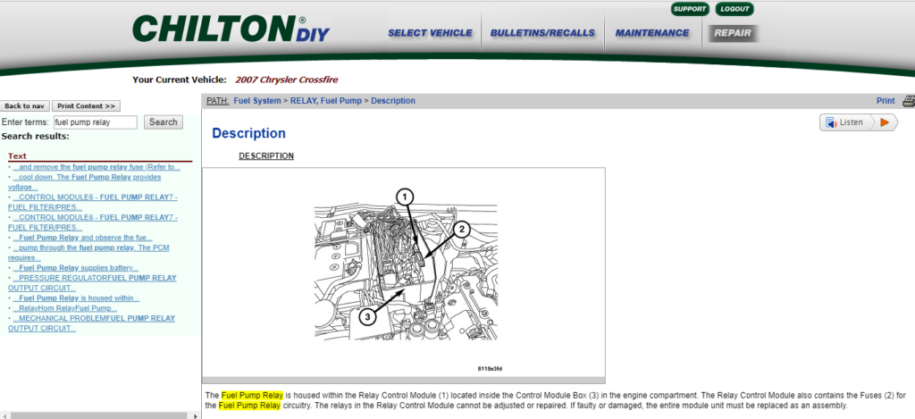 image of chiltondiy online manual research result example