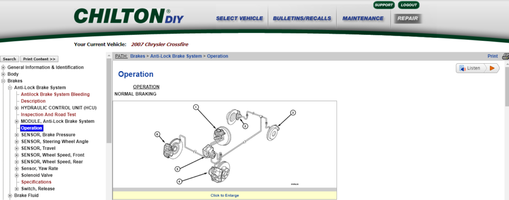 image of chiltondiy online repair manual page