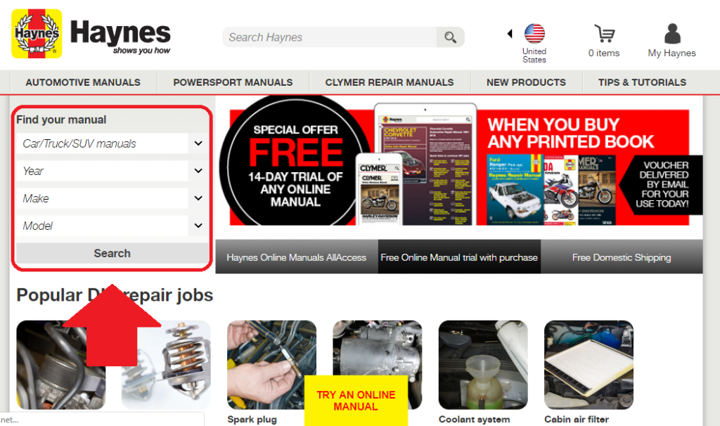 image of haynes online see your vehicles manual index
