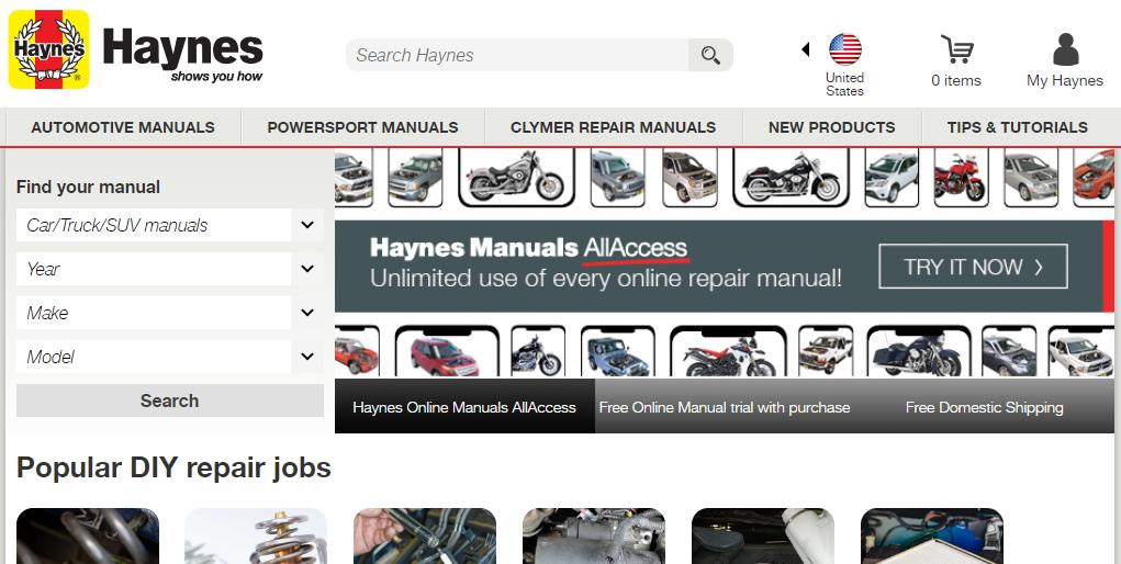 image of haynes repair manual online